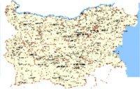 Mapa Bulharska s vyznačenými mestami