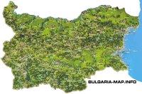 Mapa Bulharska s vyznačenými turistickými atrakciami